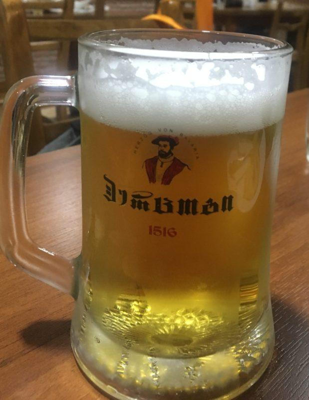 生ビール100円。名前は『herzog』。さっぱりとしていて飲みやすい。